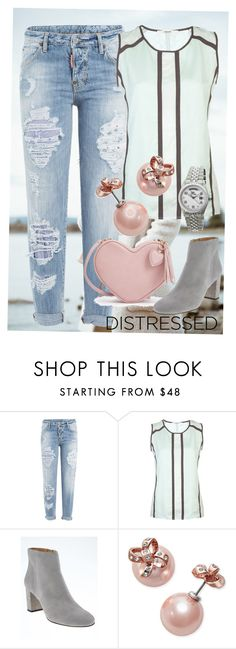 """""""Distressed but Dainty"""" by dundiddit ❤ liked on Polyvore featuring Dsquared2, J Brand, Banana Republic, Kate Spade, Sophie and Freda, distresseddenim and contestentry"""