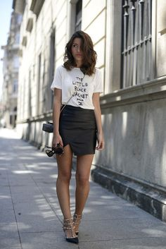 street style, fashion, outfit, casual chic, leather skirt, basic tee