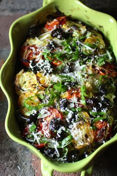 Summer Vegetable Casserole with Fresh Herbs, Lemons and Dry-Cured Black Olives,  Potato, Zucchini, Yellow Squash, Tomato, Onion, Garlic, Parmesan