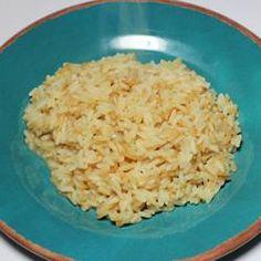 Simple Rice Recipe: olive oil, onions, chicken broth, garlic salt