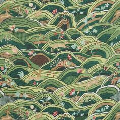 Schumacher Charming animals gambol within a naïve landscape in this Rolling Hills Fabric. This design preserves the rustic simplicity of the embroidered original, which dates to Color: Green Design Textile, Design Floral, Adara Sanchez, Portfolio Illustration, Timberwolf, Geometric Wallpaper, Eclectic Wallpaper, Antique Wallpaper, Brown Wallpaper