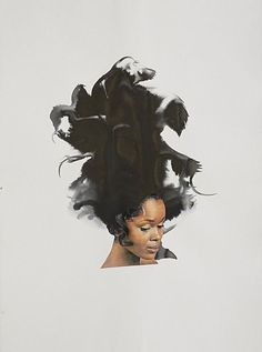 "from black curl to Cleopatra, Brooklyn-based artist Lorna Simpson creates thought-provoking works that explore African American women and Black hair. With original images and photos that she collects from flea markets and special Ebay finds, Simpson mixes the imagery with ink on paper to craft unique narratives that only we, the viewer, can truly fill in. Her collages integrate beautiful color relationships as well, with pieces featuring indigo and persimmon ""hair""."