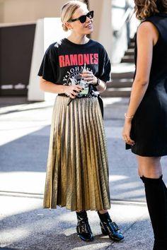 Street look à la Fashion Week Croisière 2017 de Sydney Midi Skirt, Sequin Skirt, Sequined Skirt, Midi Skirts