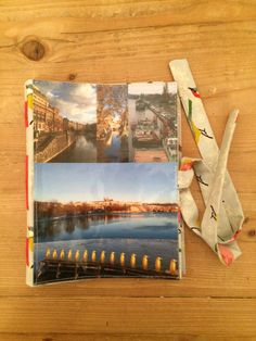 Handmade notebook with collage and fabric cover. For this notebook, I used my photographs of Prague, Czech republic. For sale on www.delphineiv.com