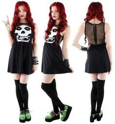 Misfits Mesh Skull Dress by Iron Fist