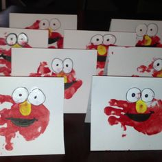 Handprint Elmo thank you cards...a great end to a great Sesame Street party!