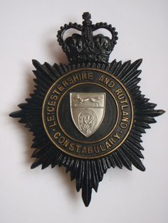 Leicestershire & Rutland Constabulary Night Helmet Plate - Queen's Crown