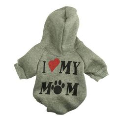 "Pet Dog Clothes - ""I Love My Mom"" Dog Hoodies"