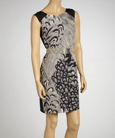 Take a look at this Gray & Black Belted Sleeveless Dress by Jessica Simpson Collection on #zulily today!
