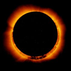 An annular solar eclipse seen from space