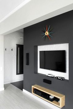 Interior Design, Simple And Cool Media Storage Design With Grey Colored Style Added LCD Tv Installation Set: Stylish Modern Bachelor Pad in Simple and Cool Interior Design Decor, House Design, Interior, Apartment Design, Entertainment Center, Tv Decor, Wall Mount Entertainment Center, Bachelor Pad, Interior Design