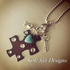 Autism Awareness Puzzle Piece Necklace with by kolejaxdesigns, $28.00