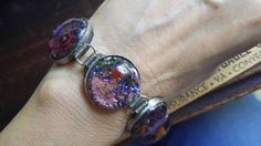 Handcrafted Silver millefiore and foil Glass bracelet by Scentedlingerie