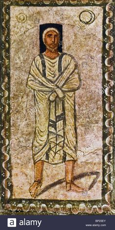 Stock Photo - ABRAHAM RECEIVES THE PROMISE. WALL PAINTING FROM DURA EUROPOS ONE OF THE EARLYEST KNOWN SYNAGOGUES DATED C. 245 A.D. LOCATED IN Syria.