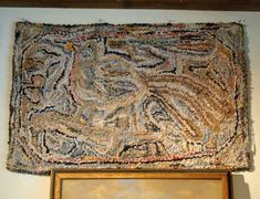 This beautiful primitive folk art rug was created around 1910- 1920, all hand designed, if you study it closely you will see a bird inside the rug. The rug was hooked with cotton strips not wool.