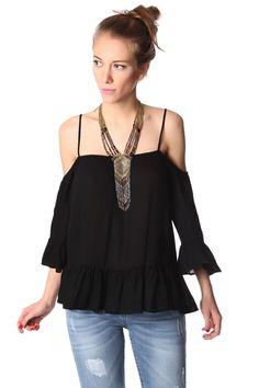 Black cold shoulder top with frill trims