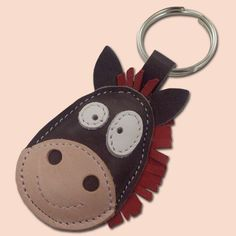 This cute cartoon horse keychain is manufactured of natural leather, just to make your day brighter :) Leather Accessories, Leather Jewelry, Leather Craft, Handmade Leather, Leather Bookmark, Leather Keychain, Beaded Animals, Leather Projects, Natural Leather