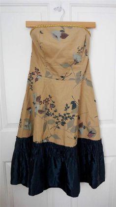 ANTHROPOLOGIE TABITHA sz 12 WINTER FLAME strapless floral corset dress silk trim #Anthropologie #CuteDresses $35