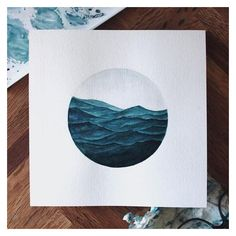 Watercolor Paintings of Waves and Whales Mimic the Calming Undulation... ❤ liked on Polyvore featuring home, home decor, wall art, whale watercolor painting, sea painting, blue whale painting, ocean waves painting and watercolour paintings
