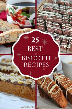 Best Biscotti Recipes – 25 Delicious Cookies 25 of the Best Biscotti Recipes for you this Holiday season. Sometimes made with nuts, a variety of fruit or just chocolate and either way we love them! Biscotti Rezept, Biscotti Cookies, Galletas Cookies, Yummy Cookies, Almond Cookies, Cookie Desserts, Easy Desserts, Cookie Recipes, Dessert Recipes
