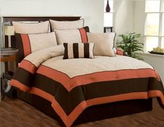 Aspen Beige, Brown, Coral Quilted Comforter Bed In A Bag Set - Queen by Duck, http://www.amazon.com/dp/B00CJ0NSZI/ref=cm_sw_r_pi_dp_ku-Hrb00CS2HC