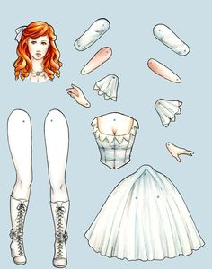 Ginger articulated paper doll by BlackbirdAndMagpie on Etsy