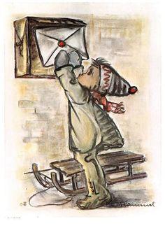 """vintage unused  greeting cards  ARS SACRA Hummel """"i send you are a letter""""1653"""""""