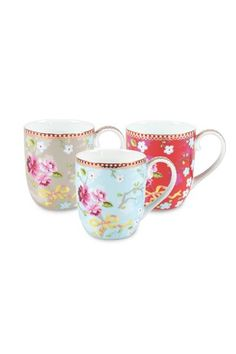 Show details for Small Floral Chinese Rose mug blue