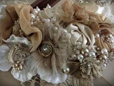 CAFE AU LAIT Ivory Cream Beaded Textile Statement Necklace
