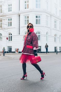 Copenhagen Fashion Week – Street style – LOUISE XIN  Prada Tweed jacket  Prada Flame heels Copenhagen Fashion Week, Nice Outfits, Tweed Jacket, Harajuku, Prada, Punk, Street Style, Coats, Heels