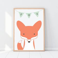 Fox Woodland nursery decor Woodland animals Pastel colors