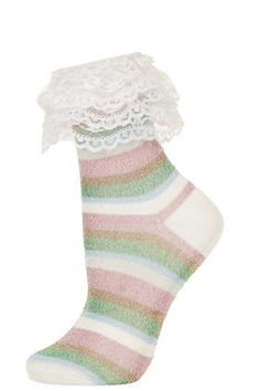 **Pastel Stripe Frill Ankle Socks by Meadham Kirchhoff - Meadham Kirchhoff  - Clothing
