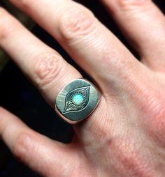 Equinox Signet ring for @marcusjolly Brazilian Opal  Sterling Silver  #juliocuellarhandmade #engraving