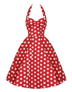Vintage Halterneck Backless Polka Dot Print Ruffled Sleeveless Dress For WomenVintage Dresses | RoseGal.com