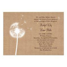 Dandelion on Burlap Wedding Invitation