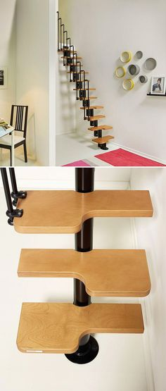 The Nice2 stair kit is an adjustable space-saving set of steps with an alternating tread design for maximum space utilization. A good upgrade to a loft ladder. I'd carpet them for the kitty cat. | Tiny Homes