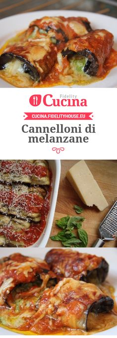 Cannelloni di melanzane Best Dinner Recipes, Wine Recipes, Cooking Recipes, Cannelloni Recipes, Food Articles, Pasta, Happy Foods, Veggie Dishes, International Recipes