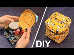 Kosmetiktasche Nähen | würfelförmige Tasche nähanleitung [sewingtimes] - YouTube