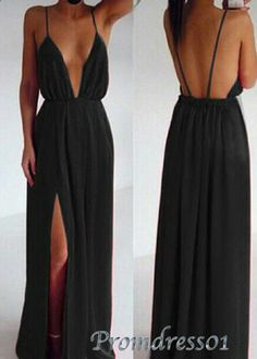 Sexy prom dress with straps, senior prom dress with slit, 2016 black chiffon evening dress