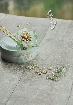 琉璃珍珠水晶流苏钗: