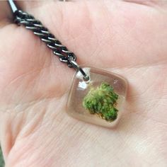 Healing Flower Pendant - Real Cannabis Jewelry - Weed Necklace - Hemp Necklace…