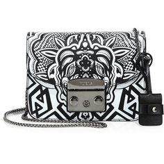 Furla Metropolis Graphic Leather & Chain Crossbody ($455) ❤ liked on Polyvore featuring bags, handbags, shoulder bags, apparel & accessories, toni onyx, leather crossbody, crossbody purse, chain crossbody, furla handbags and leather cross body handbags
