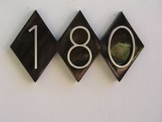 Diamond House Numbers Plaque. Mid Century Address Sign,  Quality Solid Mahogany with Gloss Finish.