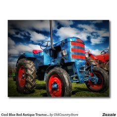 Cool Blue Red Antique Tractor Gifts for Farmers Postcard SOLD on Zazzle