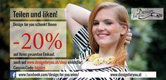 Jetzt Gutscheine sichern und -20% Gutschein auf den gesamten Einkauf sichern. Gültig bis 29.Juli 2016  www.designforyou.at/shop