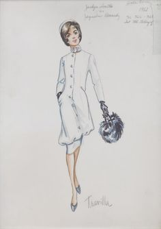 """TRAVILLA costume sketch for the made-for-television movie Jacqueline Bouvier Kennedy (ABC, 1981). The sketch of a white coat dress with black fur muff is marked in pencil at the upper right """"Jaclyn Smith as Jaqueline Kennedy"""" and """"pale bone/ 1961"""