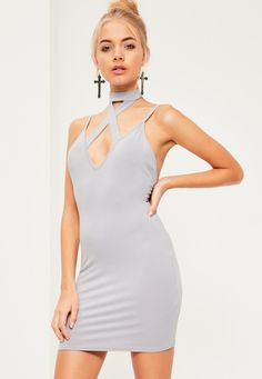 Missguided - Grey Cross Front Choker Strappy Bodycon Dress