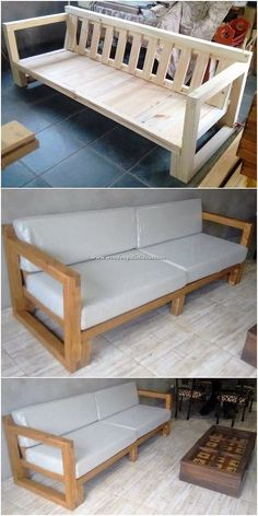 Creative diy projects of old wood pallets recycling diy pallet creations. Handmade Wood Furniture, Diy Furniture Couch, Pallet Furniture Designs, Pallet Garden Furniture, Diy Sofa, Diy Outdoor Furniture, Furniture Projects, Furniture Plans, Playhouse Furniture