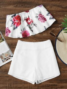 Floral Print Bandeau Top With Shorts-US$16.99