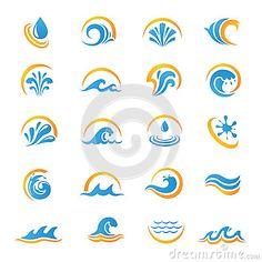 Ensemble d icônes de symbole de l eau et de mer